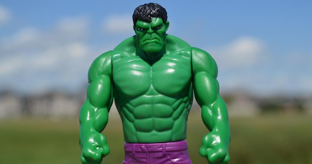 hulk action figure looking unhappy