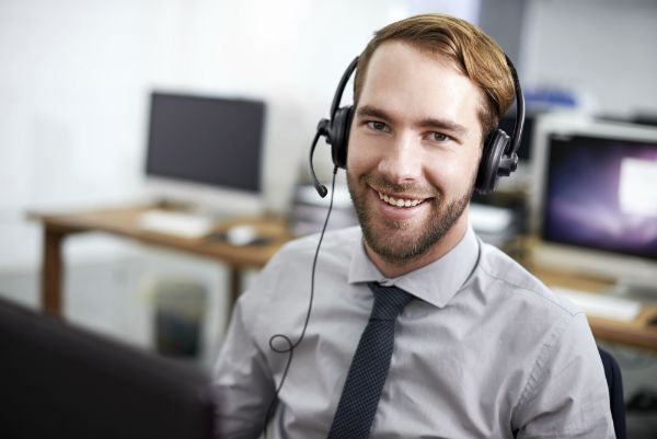 bearded call center agent working