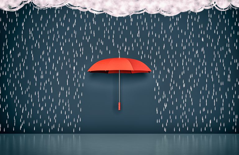 red umbrella with stormclouds