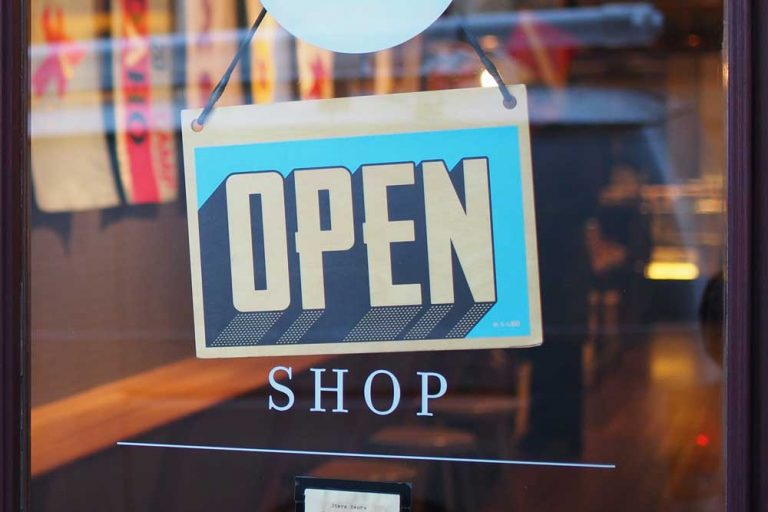 open sign on a shop window