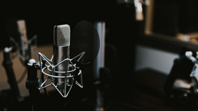 Two podcast microphones